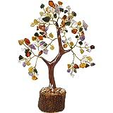 The Emerald Hut 7 Chakra Small Precious Stone Tree Showipiece (6 inch, Multicolour)