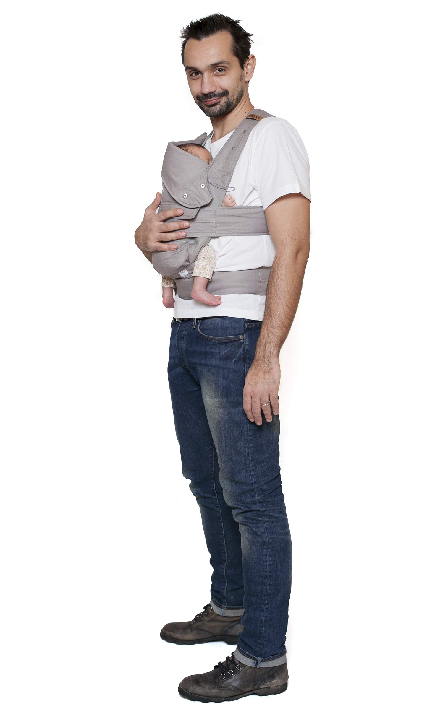 """marsupi Baby and Child Carrier, Version 2.0 Breeze (lightgrey/Light Gray, S/M) Marsupi Particularly compact and lightweight front & hip carrier that fits in any pocket. Revised Version 2.0. Even lighter and more breathable than the """"Classic"""" version thanks to a extra fine linen-cotton mix. Only 250g net weight. Easy to put on thanks to unique Velcro system. 60% linen / 40% cotton, made in Europe. Machine washable up to 30°. Perfect support for the little ones, optimum weight distribution for the parents, wide base for orthopaedically correct posture (M position) and thigh support for your growing child 3"""
