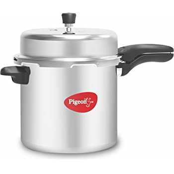 Pigeon by Stovekraft Deluxe Aluminium Pressure Cooker, 12 Litres,Silver