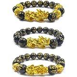 3 braccialetti Pi Xiu, Feng Shui in ossidiana nera, con placcatura in oro, motivo bestia sacra cinese Pi Xiu, attrae ricchezz