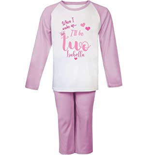 Pyjamas Plain Pink Birthday Baby Girl Ages 1,2,3 Toddler Clothing Personalised