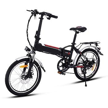 AMDirect Bicicleta Eléctrica Plegable con Batería de Litio(36V 8Ah) Desmontable Bicicleta de Montaña