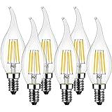 LVWIT Lampadina Filamento LED Fiamma, Attacco E14, 4W Pari a 40W, Bianco Caldo 2700K, 470Lm, Confezione da 6 Pezzi