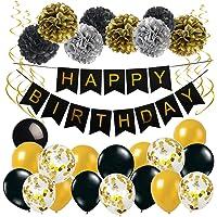Anniversaire Bannière Noir Or Décoration Anniversaire Baudruche avec 1 Happy Birthday Banderole 17 Ballons en Latex 8…