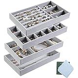 Kitchenmore - Organizer per gioielli con vassoi, ideale come espositore per anelli, orecchini, collane, colore grigio e Accia