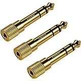 Adaptador de Auriculares TriLink, Pack de 3 Adaptadores de Audio [Cobre Puro Chapado en Oro ] Conector Estéreo de 3,5 mm Mach