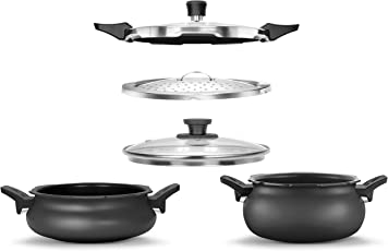 Pigeon All In One Value Pack Hard Anodized Cooker Set, 5-Pieces, Black