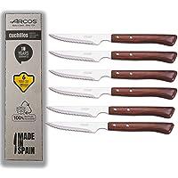 Arcos - Lot de 6 couteaux à steak, arcs en bois, arcs de couteau, couteaux à steak, couteaux à steak, manche en bois…