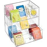 mDesign - Theedoos - keukenorganizer/opbergbox voor theezakjes, koffiepads, suiker en meer - met 27 compartimenten en 3 lades