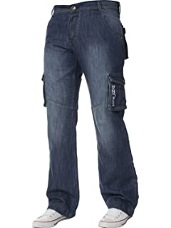 Nouveau homme designer enzo foncé cargo combat denim jeans pantalon tous tour de taille /& jambe tailles
