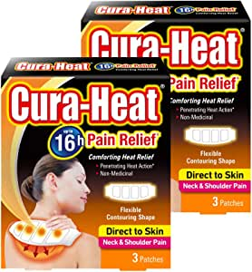 Cura Heat Neck & Shoulder Pain Direct to Skin, 2 Packs x 3 Patches