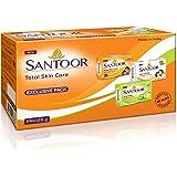 Santoor Total Skin Care Soaps (Sandal, Almond, Aloe Fresh Soaps combo), 125g (Pack of 6)