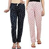 Peach Blossom Women's Printed Pyjama Combo of 2