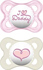 MAM Babyartikel Original Silikon I love Daddy, girl, 0-6 Monate, Doppelpack