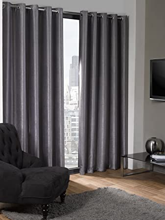 Blackout Curtains blackout curtains 90×90 : Lagon Eyelet Grey Silver Curtains Grey blackout Thermal Plain ...