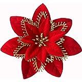 ACDE 10 Piezas 13cm Decoraciones de Flores Navideñas Artificiales Brillo Poinsettia Flores Falsas Adornos árboles Navidad con