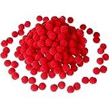 Sumind 250 Pièces Mini Pompoms Petits Pom Pom Duveteux pour Décor Art Bricolages DIY, Rouge (12 mm)