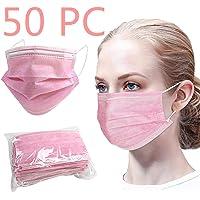 50 Pcs Jetable 3 Couches de Protection (en Sac) Rose Respirant Cache Visage Bouche Nez Facial Adulte Femme Ado Fille…