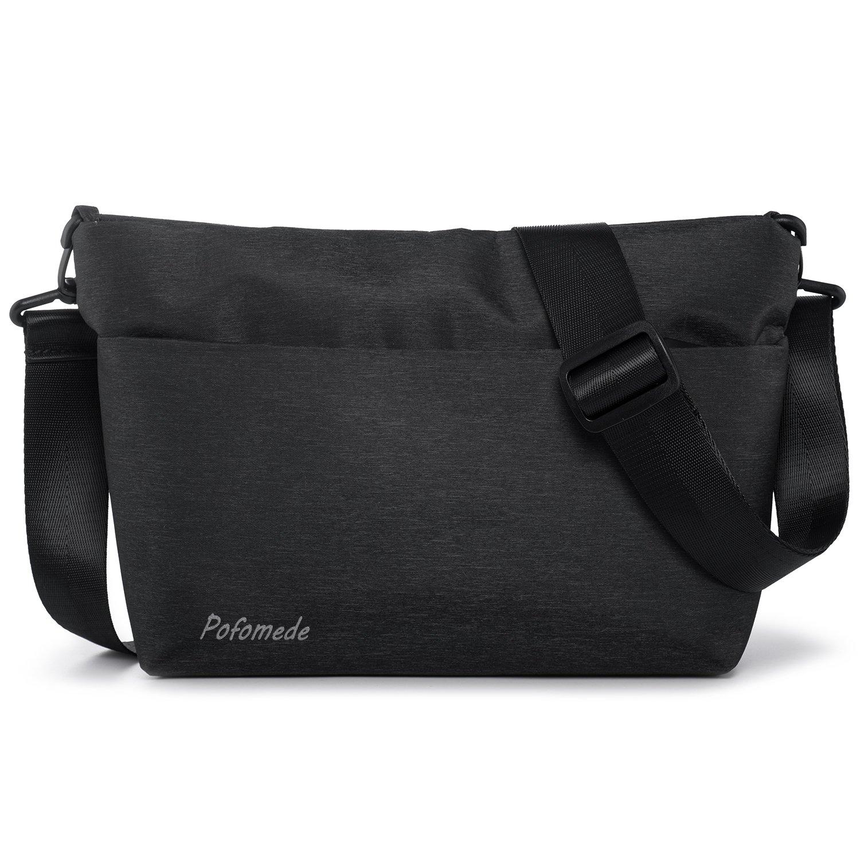 Bolso de Hombro Pequeños Bolso Hombre Bolsos Bandolera Impermeable Messenger Bag de Oxford Bolsa Mensajero para iPad mini Trabajo Escolares Sport Casual Pofomede Negro