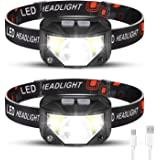 Foxdott Rechargeable Headlamp 2 Packs, LED Headlamp, Head Lamps for Adults, Flashlight with White Red Lights, USB Rechargeabl