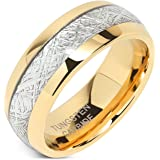 100S JEWELRY Mens Wedding Bands Tungsten Gold Rings Comfort Fit Imitated Meteorite Inlaid All Size 5-16 With Half sizes