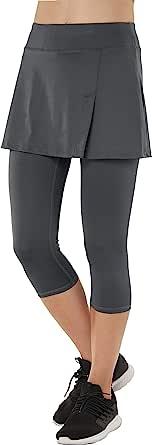Westkun Donna Gonna Pantalone Taglio a Fessura Sports Tennis Golf Rock Legging 3/4 Elastico Tessuto 2 in 1