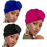 Comius Sharp Turbante Africano, 3 Pezzi Sciarpa Avvolge Testa Boho Turbante Elastico Annodato Berretto Cappello per Donne, Co