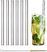 HALM Glas Strohhalme Wiederverwendbar Trinkhalm - 6 Stück gerade 20 cm + plastikfreie Reinigungsbürste - Spülmaschinenfest -
