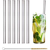 HALM Glas Strohhalme Wiederverwendbar Trinkhalm - 6 Stück gerade 20 cm + plastikfreie Reinigungsbürste - Spülmaschinenfest - Nachhaltig - Glastrinkhalme Glasstrohhalme für Long-Drinks, Smoothies, Saft
