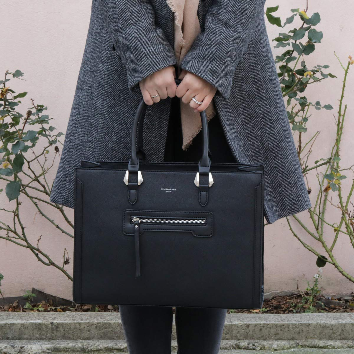 Grand Sac /à Main Femme Capacit/é Moyenne Cabas Fourre-Tout Cuir PU Rigide Gris David Jones Sac El/égant Ville Travail Poches Multiples Shopper Port/é Epaule Bandouli/ère Mode Chic