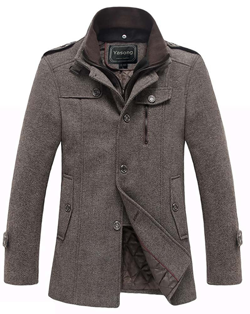 Yasong Men's Teenager's Wool Jacket Overcoat Stand collar Trench ...