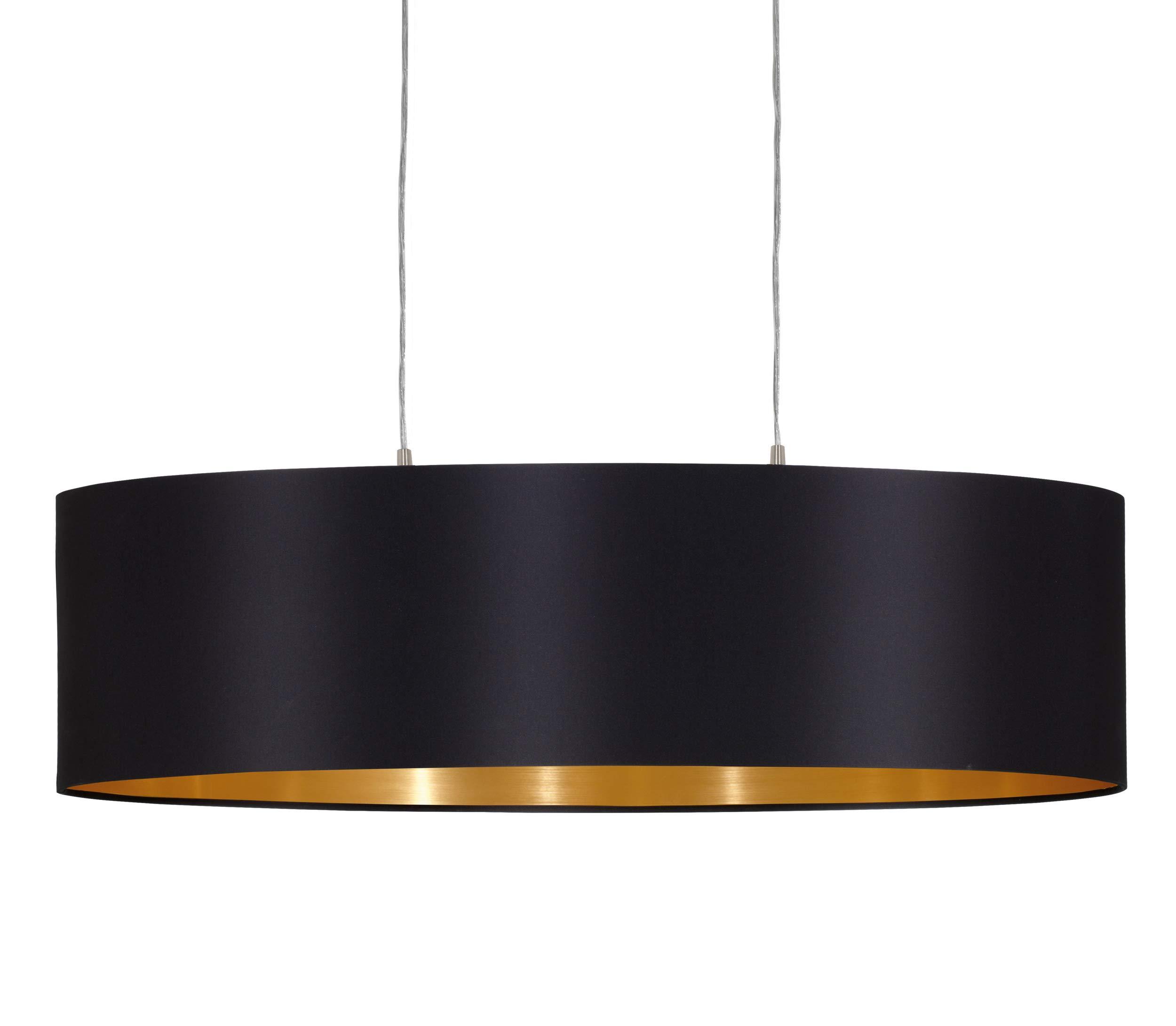 EGLO 31611 lampadario in nichel-Matt Ø paralume, nero/oro acciaio, 78 cm, glühlampe, argento