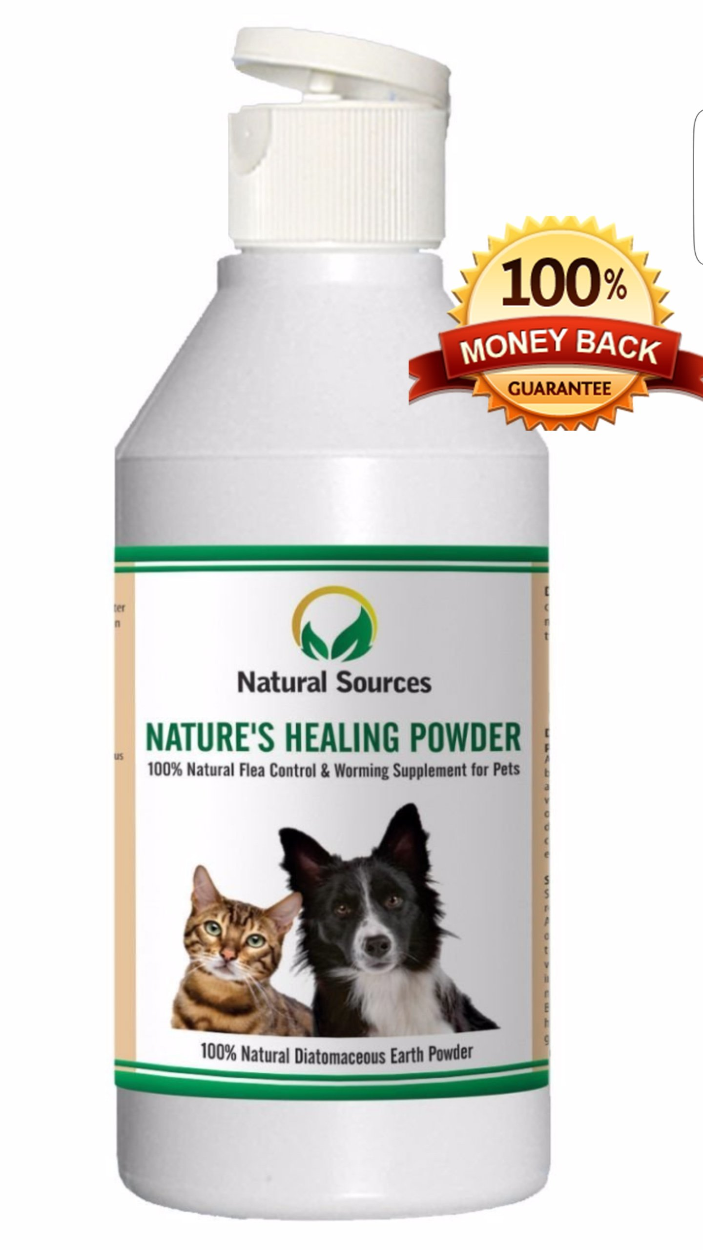 Nature's Healing Powder by Natural Sources™ – 100% Natural Flea Powder Treatment For Dogs, Cats, Bedding & Home – Safe For Use Around Kids & All Pets. Purest Quality Mexican Freshwater Codex (Human Food Grade) Diatomaceous Earth Powder.
