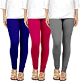 VogueStory Cotton Lycra Churidar Leggings for Women & Girls Free Size (Pack of 3)