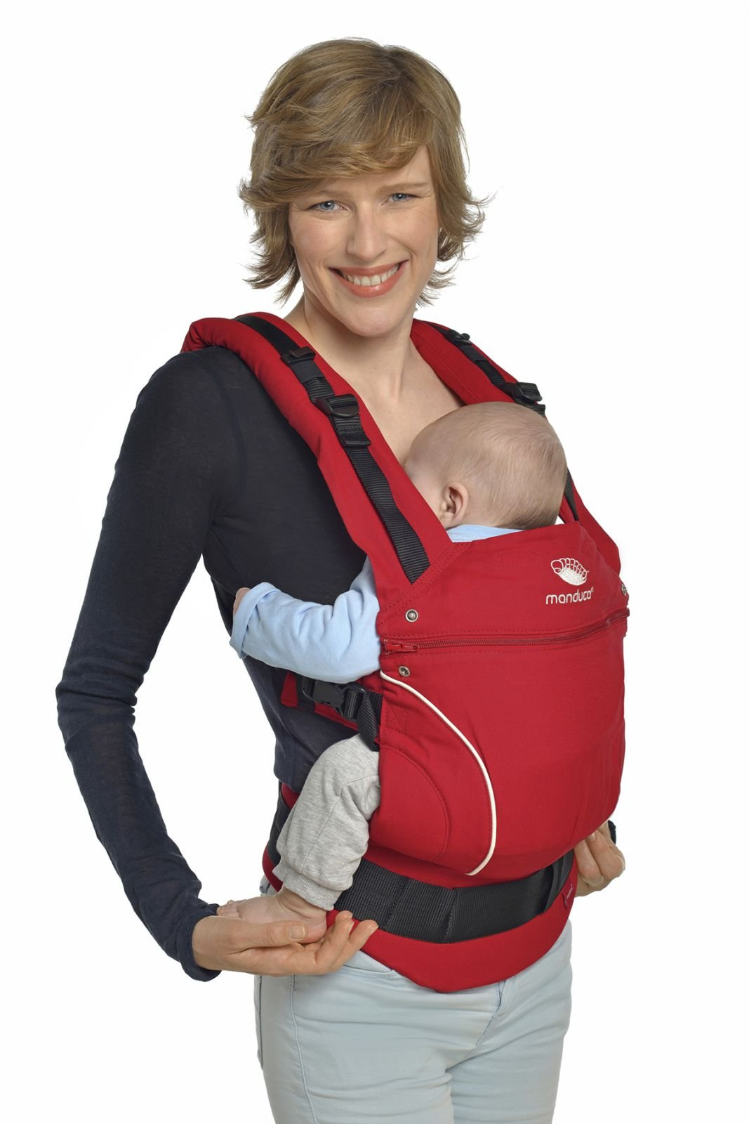 Manduca 3-in-1 Pure Cotton Baby Carrier (Chili Red) Manduca 3-in-1 soft structured baby carrier that supports baby in the healthiest position Made from 100% organic cotton Suitable from newborn to pre-schooler taking a weight of 45lbs. 4