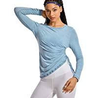 CRZ YOGA Women's Pima Cotton Workout Long Sleeve Shirts Adjustable Drawstring Side Ruched Athletic Tops