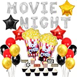 JOYMEMO Movie Night Balloon Decorations Popcorn Star Foil Balloons for Hollywood Oscar Themed, Movie Theater Time Party Pack
