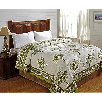 Stoa Paris STPJAPDQ1011 Reverisble Block Print Cotton Double Quilts - Multicolor