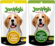 Jerhigh Combo of Chicken and Liver in Gravy (Pack of 4) & Chicken and Vegetable in Gravy (Pack of Four)