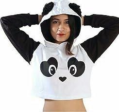 Be Bakchod Crop Panda Hoodie with Faux furr for Girls and Women Crop Sweatshirt
