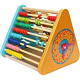 Trinkets & More - Activity Triangle Centre Cube 5 in 1 Abacus Smiley Clock Drawing Board Educational Toys Kids Toddlers 2+ Ye