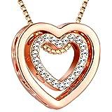 """Murtoo """"always in my heart"""" Collana placcata oro rosa con doppia collana con ciondolo a forma di cuore con cristalli Swarovsk"""