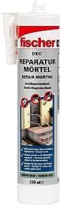 fischer Reparatur-Mörtel DEC - Fugenmörtel auf Acrylatbasis für Ausbesserungsarbeiten und die Sanierung von Mauerwerksfugen, geruchsarm, wetterbeständig, zementgrau, 310 ml - Art.-Nr. 534474