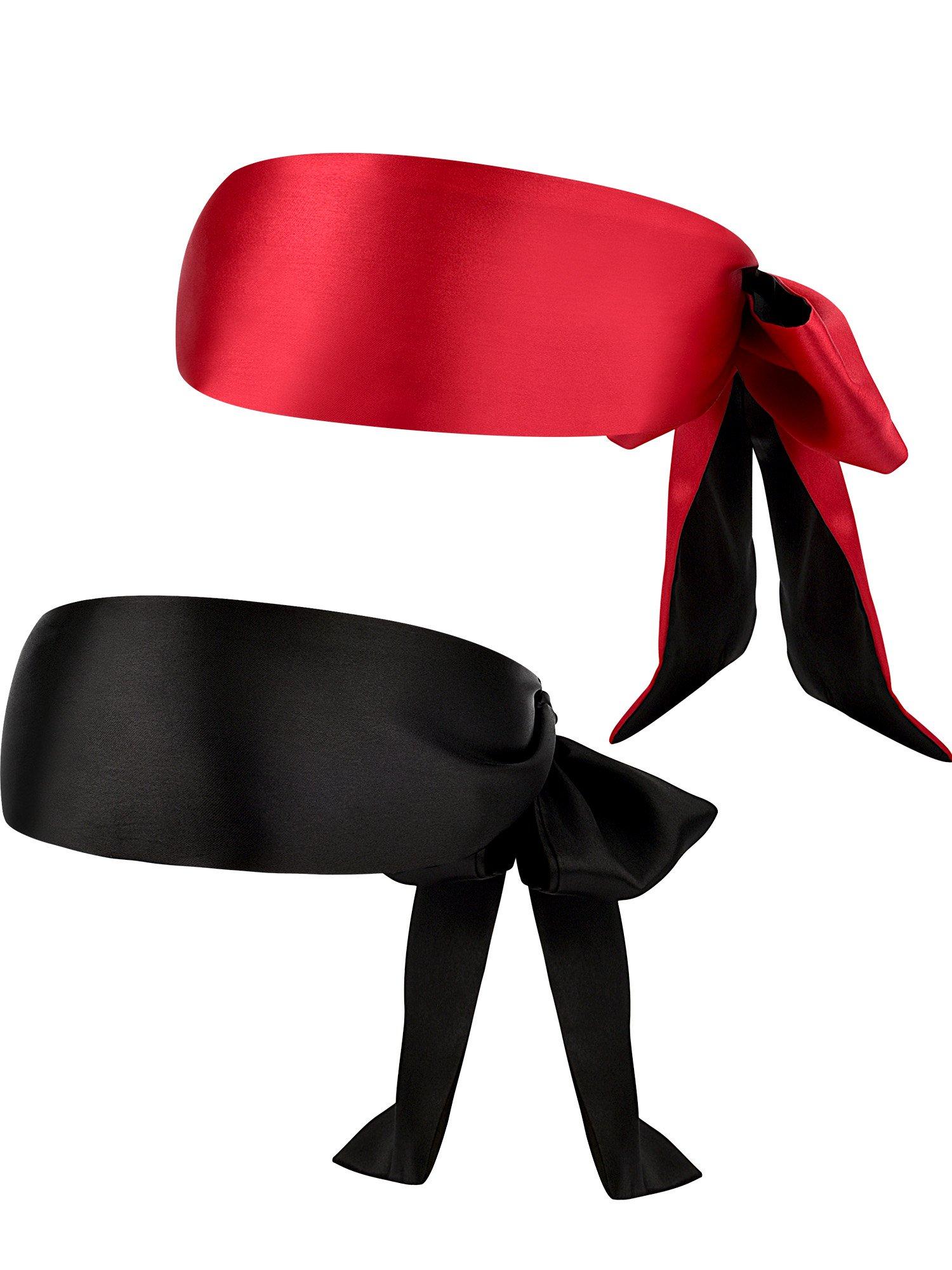 2 Pieces 1.5 Meters Satin Eye Mask Sleeping Ribbon Blindfold Costume Satin Eye Shades, 2 Colors