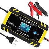 InThoor Chargeur de Batterie Intelligent 12V/24V 8A, 3 Étapes de Chargeur Batterie Mainteneur et Automatique Réparation Fonct