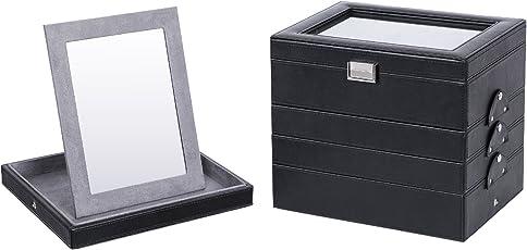 SONGMICS Schmuckkasten,5 Ebene beliebig kombinierbare Schmuckbox mit Spiegel JBC142