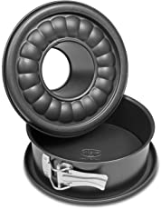 Dr. Oetker Springform mit Flach- und Rohrboden Ø 18 cm, Kuchenform aus Stahl mit Antihaftbeschichtung, Backform aus veredeltem Schwarzblech, Menge: 1 Stück