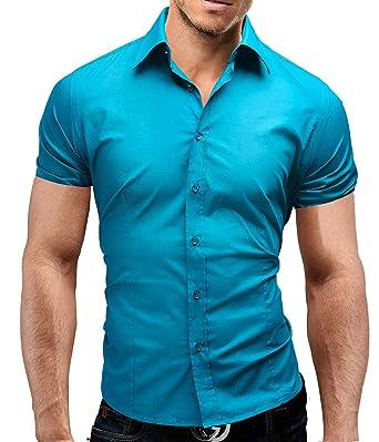MERISH Dress Shirt Men Short Sleeve Slim Fit Casual And Modern Design Modell  77 Turquoise S
