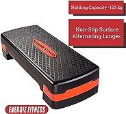 Energie Fitness Adjustable Aerobic Stepper - Black Color - 2 Height Level 10 - 15 Cm