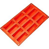 AmazonBasics Silicone Rectangular Cake Mould, 12 Cavity, Red